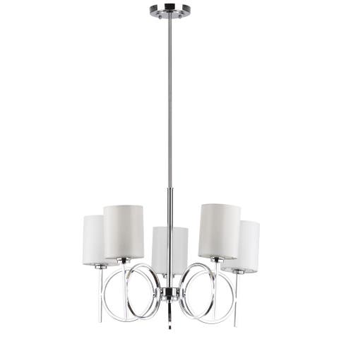 "Safavieh Lighting Meredith Adjustable 5-light Bracelet Chrome Chandelier - 24.5""x24.5 ""x21 - 57"" - 24.5""x24.5 ""x21 - 57"""