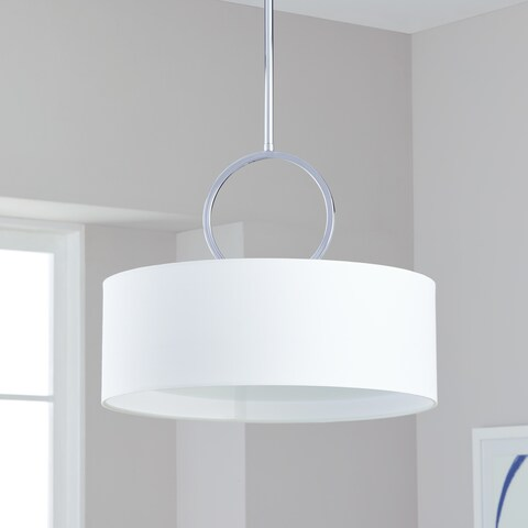 "Safavieh Lighting 18-inch Adjustable 3-Light Debonair Chrome Drum Pendant Lamp - 18"" x 18"" x 16.75 - 52.75"""