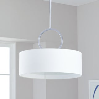 Safavieh Lighting 18-inch Adjustable 3-Light Debonair Chrome Drum Pendant Lamp
