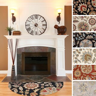 Hand-tufted Lily Pad Floral Wool Area Rug (2' x 4' Hearth)