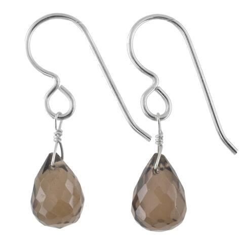 Smokey Quartz Briolette Gemstone Handmade Earrings
