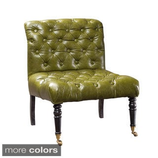Distressed Green Leather Slipper Chair