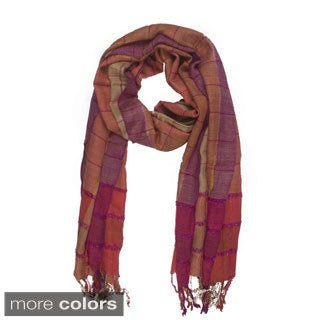 Handmade In-Sattva Colors Multicolored Stripe and Square Scarf (India)