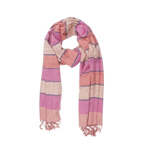 Handmade In-Sattva Colors Horizontal Striped Multicolored Scarf (India)