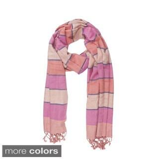 Handmade In-Sattva Colors Horizontal Striped Multicolored Scarf (India)