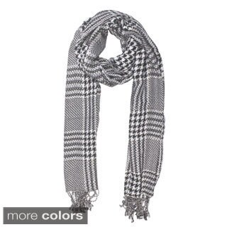Handmade In-Sattva Colors Checkered Houndstooth Scarf Stole (India)