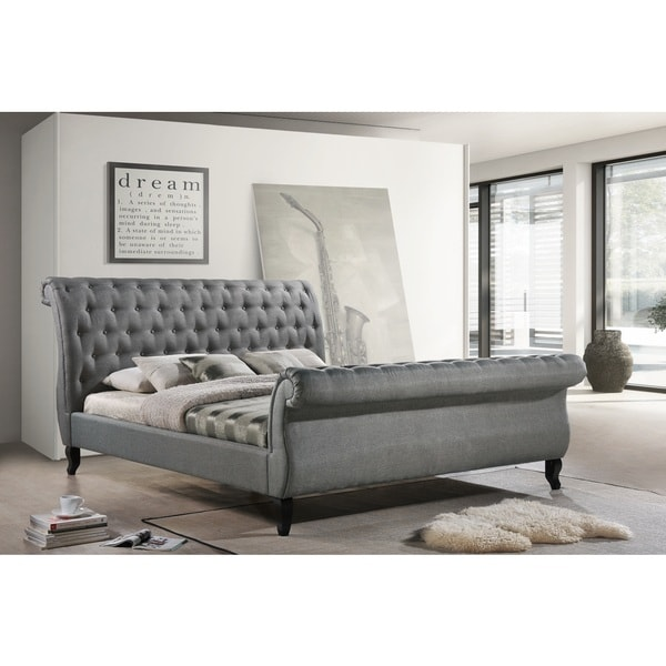 Shop Luxeo Nottingham King Grey Tufted Fabric Upholstered