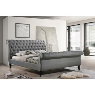 LuXeo Nottingham King Grey Tufted Fabric Upholstered Sleigh Platform Bed