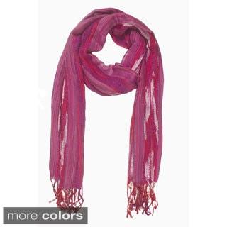 Handmade In-Sattva Colors Woven Multicolored Vertical Stripe Scarf (India)