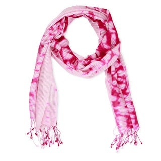Saachi Women's Wool and Silk Blend Tie Dye Splatter Scarf (India)