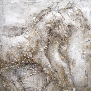"Aurelle Home Abstract Horses ""Mustang"" Acrylic Canvas Art"