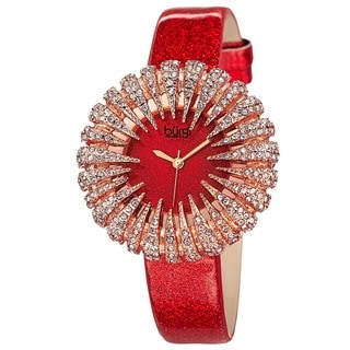 Burgi Women's Sparkling Quartz Leather Red Strap Watch