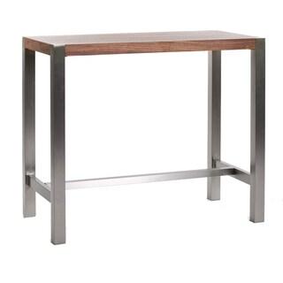 Aurelle Home Corfu Modern Walnut Bar Table