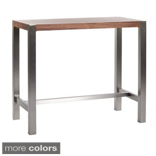 Aurelle Home Corfu Modern Walnut Bar Table