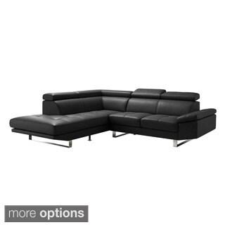 Aurelle Home Premiun Leather Sectional L Shape Sofa