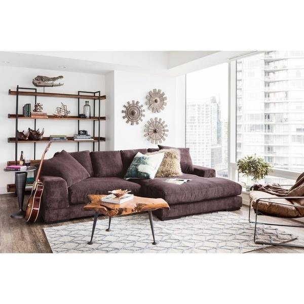 Shop Aurelle Home Polk Dark Brown Sectional Sofa - Free Shipping ...