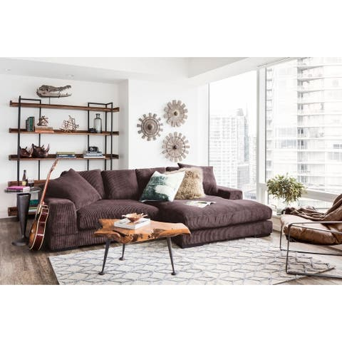 Aurelle Home Polk Dark Brown Sectional Sofa