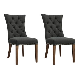 Aurelle Home Betrice French Brown Tufted Birch Wood Dining Chair (Set of 2)