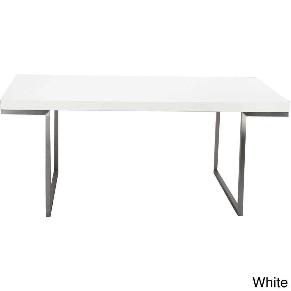 Aurelle Home Isabella White Lacquer Rectangle Dining Tabl...