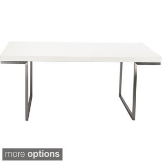 Aurelle Home White Lacquer Rectangle Dining Table