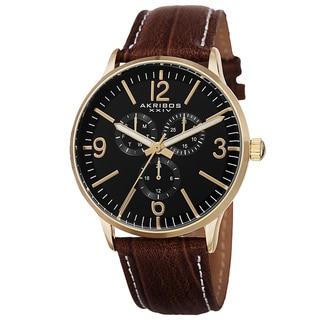 Akribos XXIV Men's Quartz Multifunction Leather Gold-Tone Strap Watch