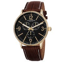 Akribos XXIV Men's Quartz Multifunction Leather Strap Watch