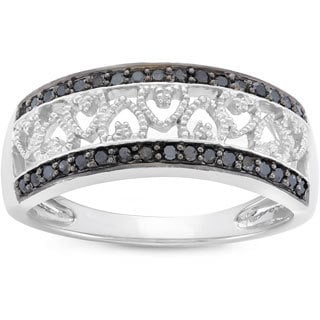 Rhodium Plated Sterling Silver 1 4ct TDW Black Diamond Heart Ring