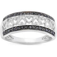 Rhodium-plated Sterling Silver 1/4ct TDW Black Diamond Heart Ring