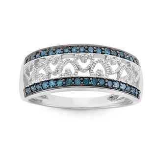 Rhodium-plated Sterling Silver 1/4ct TDW Blue Diamond Heart Ring