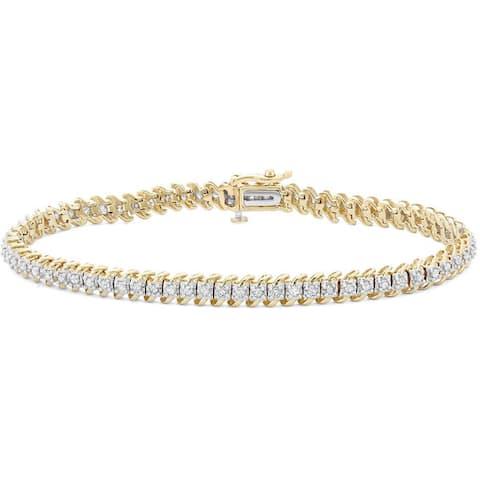 "10k Gold 1ct TDW Diamond Link Tennis Bracelet - 9'6"" x 13'6"" - 9'6"" x 13'6"""