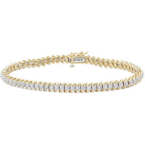10k Gold 1ct TDW Diamond Link Tennis Bracelet