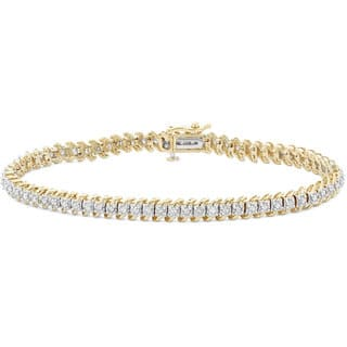 "10k Gold 1ct TDW Diamond Link Tennis Bracelet - 9'6"" x 13'6"""