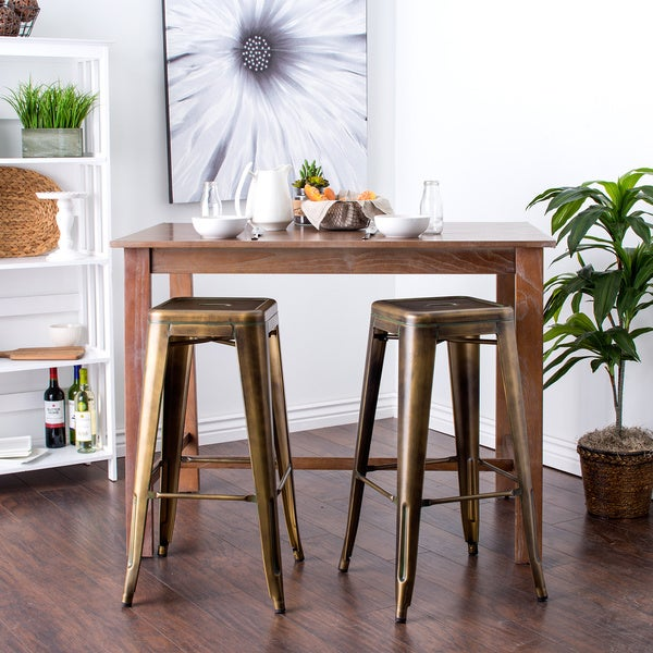 Tabouret 30 inch Weathered Bronze Bar Stools Set of 2 Free