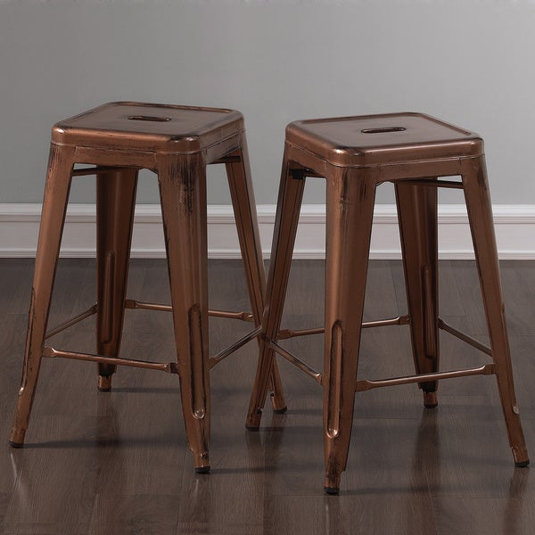 Tabouret 24 Inch Brushed Copper Counter Stools Set Of 2