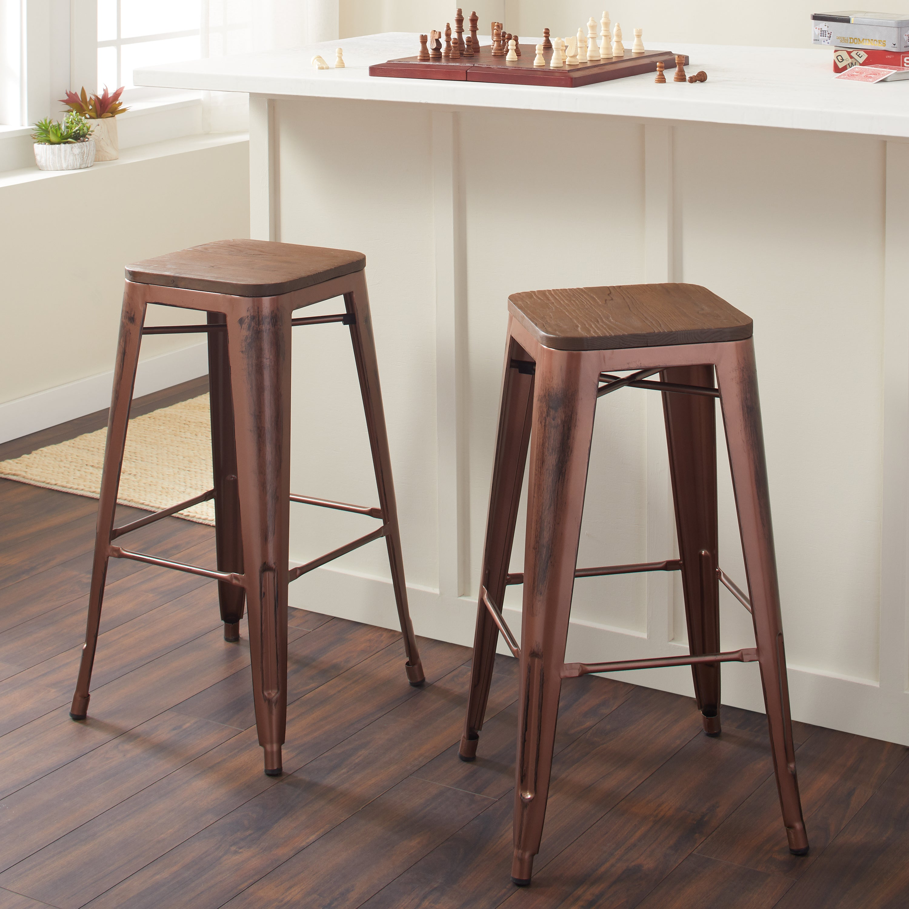 Tabouret Brushed Copper (Brown) Bar Stool with Wood Seat ...