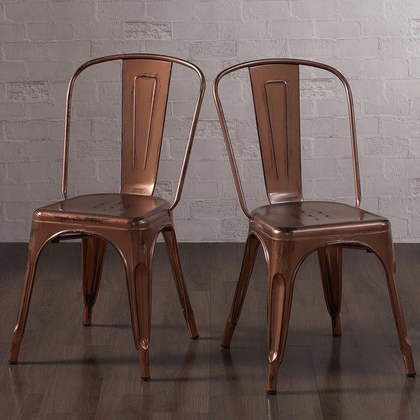 Tabouret Brushed Copper Bistro Side Chairs Set Of 2