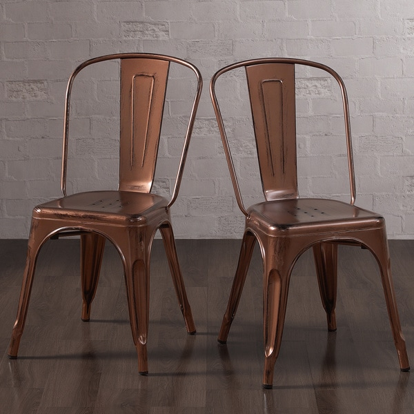Tabouret Brushed Copper Bistro Dining Chairs (Set of 2)
