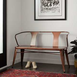 Tabouret Brushed Copper Metal Bench