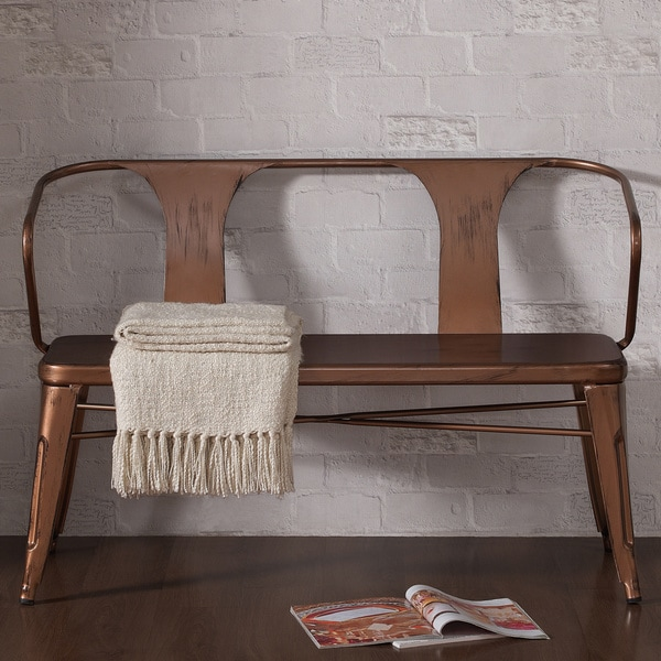 Tabouret Brushed Copper Metal Dining Bench