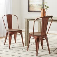 Carbon Loft Boyer Brushed Copper Wood Seat Bistro Chairs (Set of 2)