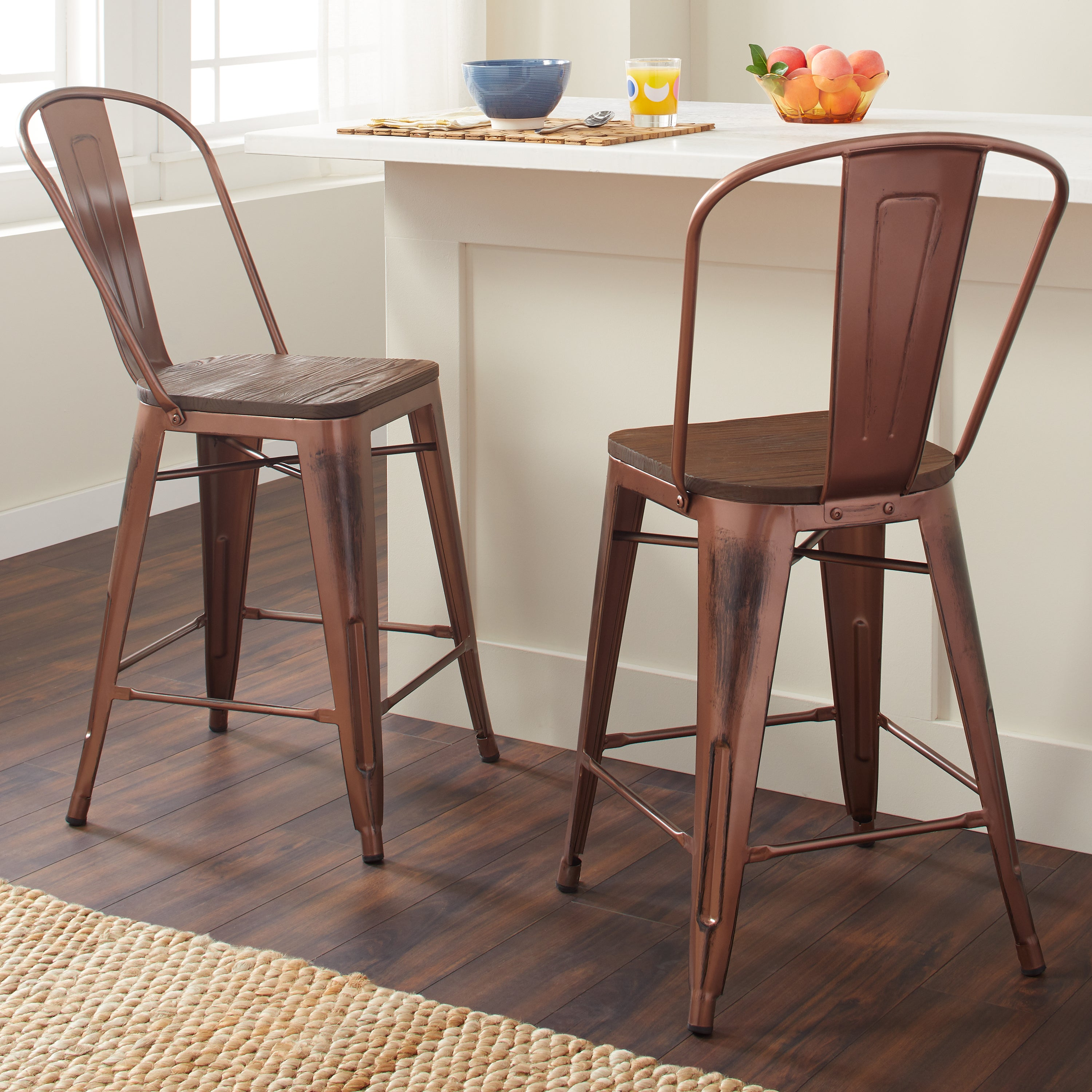 Tabouret 24 Inch Wood Seat Brushed Copper Bistro Counter Bar Stools