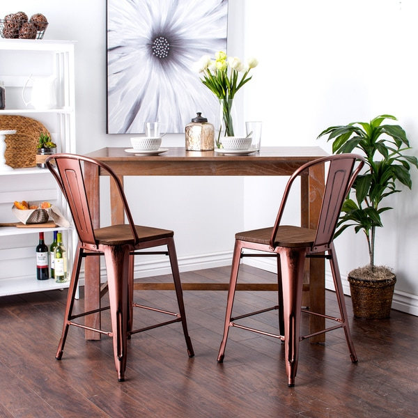 Tabouret 24 Inch Wood Seat Brushed Copper Bistro Counter Stools (Set Of 2)