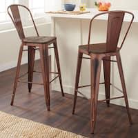Carbon Loft Tabouret 30-inch Wood Seat Brushed Copper Bistro Bar Stool (Set of 2)