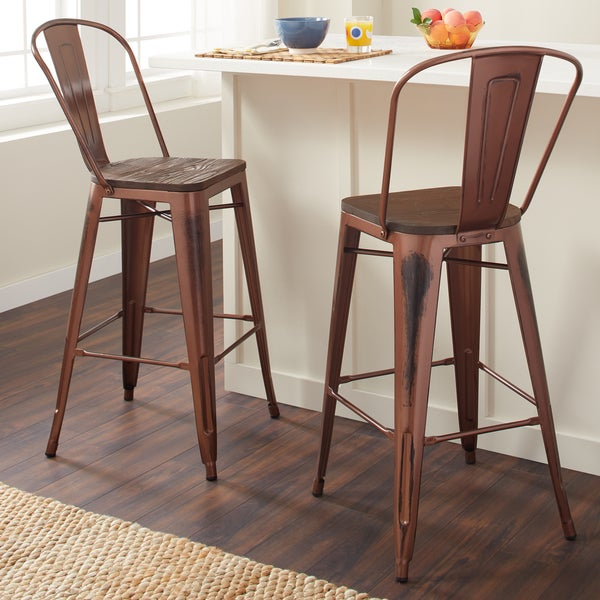 Marvelous Carbon Loft Tabouret 30 Inch Wood Seat Brushed Copper Bistro Bar Stool (Set  Of