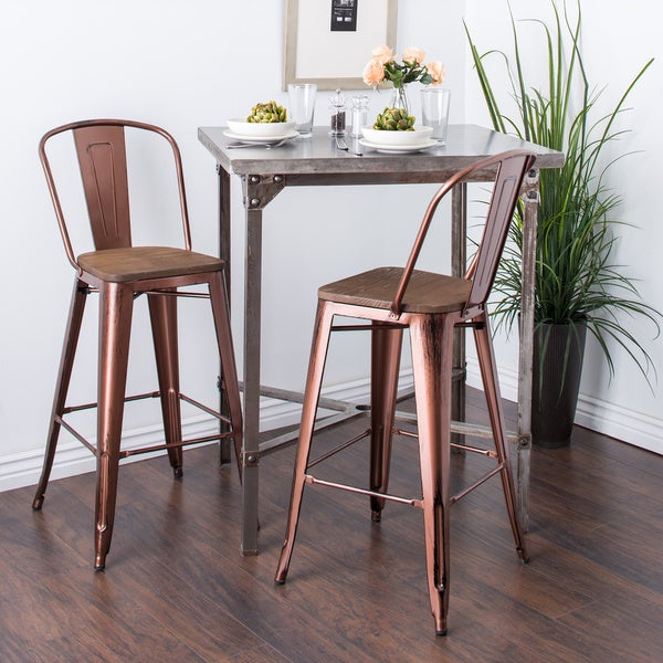 Tabouret Wood Seat Brushed Copper Bistro Bar Stool Set Of