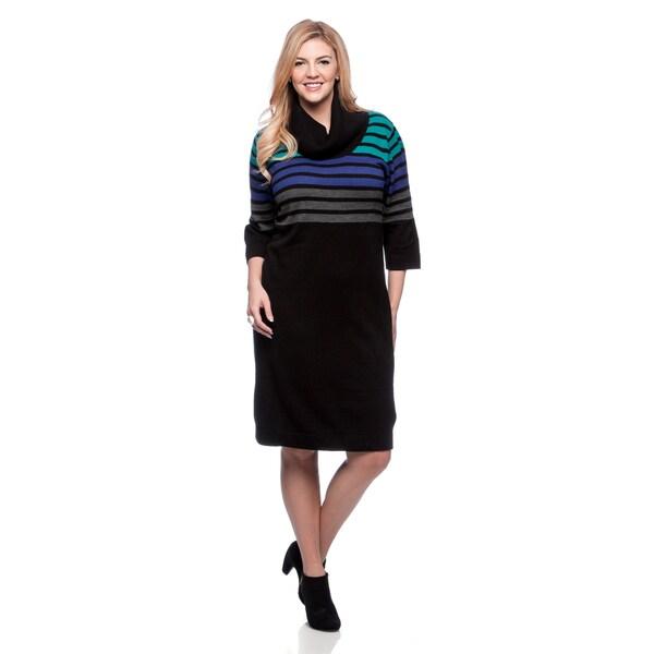 Shop Connected Apparel Plus Size Stripe Cowl Sweater Dress Free