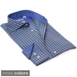 Isaac Mizrahi Gingham Black/ Blue Checkered Dress Shirt