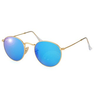 Ray Ban Unisex RB3447 Round 112/4L Matte Gold Metal Polarized Sunglasses