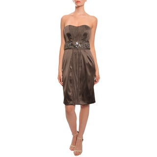 Marc Bouwer Glamit Women's Beaded Brown Strapless Silk Cocktail Dress