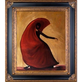 Justyna Kopania 'Flamenco' Hand-painted Framed Canvas Art